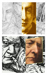 "Top: A segment of a draft by Henry Holiday depicting the ""Billiard marker"" in Lewis Carroll's The Hunting of the Snark and a segment of an image of Henry Liddell at age 28.Bottom: A segment (1876) of Henry Holiday's final depiction of the ""Billiard marker"" (with the chin having been chopped off?) and an image of Henry Liddell at an older age."