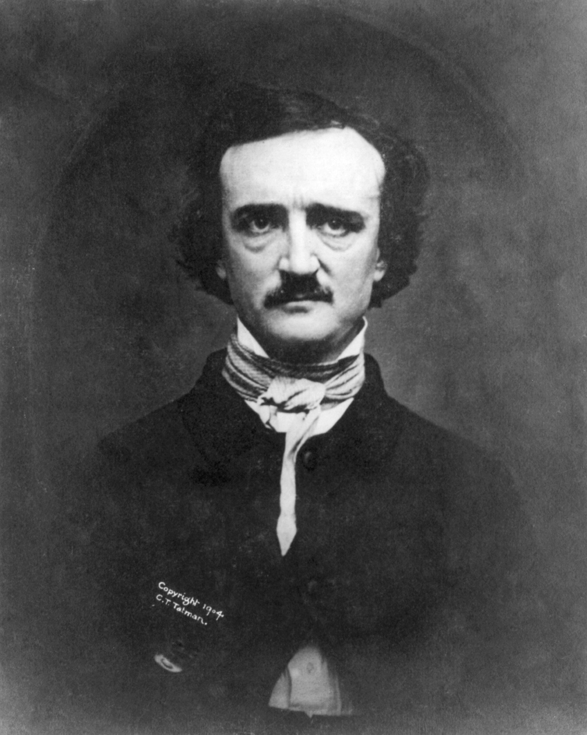 A photograph of a daguerreotype of Edgar Allan Poe 1848, first published 1880