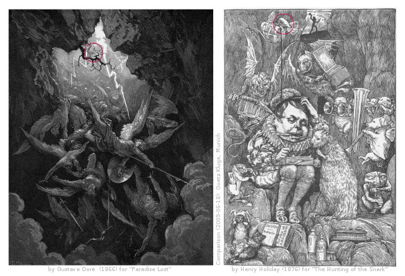 Illustration (1866) by Gustave Doré to John Milton's Paradise Lost compared with an illustration (1876) by Henry Holiday to the chapter The Beaver's Lesson in Lewis Carroll's The Hunting of the Snark.