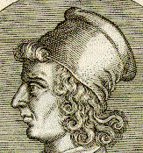 Imaginary portrait of Gian Francesco Poggio Bracciolini,  detail from the Bibliotheca chalcographica.