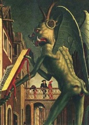 This page Diablerie is part of the devil in popular culture series. Illustration: detail from Michael Pacher's panel painting The Devil Presenting St Augustine With The Book Of Vices
