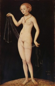 Venus (1532) by Lucas Cranach the Elder.  From March 8 until June 8, 2008, the London Royal Academy of Arts will hold a retrospective of Cranach's work. The posters for the expo were considered offensive for the officials of the London Underground, who stated that