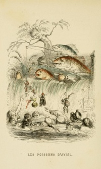 """Les poisson d'avril"" (1844) by Grandville, see April fish"
