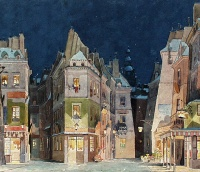 A Paris street - set design for Act II of Puccini's La bohème by Adolfo Hohenstein.