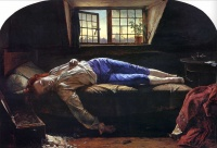 A painting of the English romantic poet Thomas Chatterton, believed to have killed himself with arsenic in 1770
