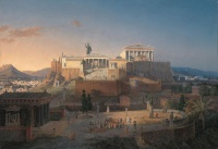 The Acropolis of Athens (1846) is a painting by Leo von Klenze of the Acropolis of Athens. It is an idealized reconstruction of the Acropolis and Areopagus in Athens.