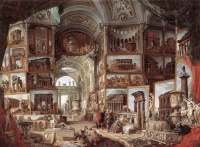 Ancient Rome (1757) by Giovanni Paolo Panini, a real painting filled with imaginary paintings of actual Roman antiquities.