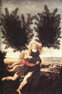 Apollo and Daphne by Antonio Pollaiuolo, one tale of transformation in the Metamorphoses—he lusts after her and she escapes him by turning into a bay laurel.