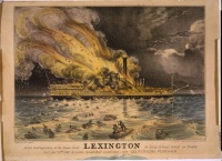 Awful conflagration of the steam boat Lexington in Long Island Sound on Monday eveg., January 13th 1840, by which melancholy occurence; over 100 persons perished.  Mass produced Courier lithograph documenting a news event, published three days after the disaster.