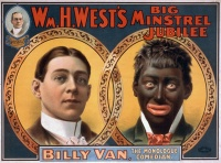 "This 1900 minstrel show poster, originally published by the Strobridge Litho Co., shows the transformation from white to ""black""."