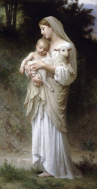 Innocence (1893) by William-Adolphe Bouguereau: Both young children and lambs are symbols of goodness