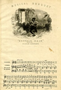 "This page Folk music is part of the music series.Illustration: Sheet music to ""Buffalo Gals"" (c. 1840), a traditional song.Maxim: ""writing about music is like dancing about architecture""."