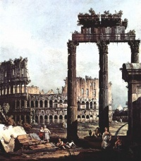 Capriccio with the Colosseum (1743-44) - Bernardo Bellotto, a type of landscape painting that places particular works of architecture in an unusual setting.