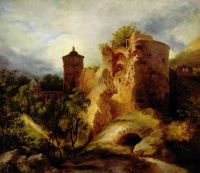 Der gesprengte Turm des Heidelberger Schlosses (The Ruined Tower of Heidelberg Castle, c. 1830) by Carl Blechen