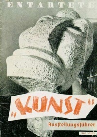 "Cover of the catalogue of the Nazi ""Degenerate Art Exhibition"" (1937). The exhibition was held to defame modern and Jewish artists. On the cover is Der Neue Mensch sculpture by Otto Freundlich."