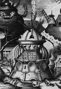 Detail of Superbia (1577) by Bruegel, proto-science fiction