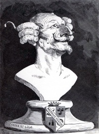 Doré's caricature of Münchhausen, a portrait bust of Baron Münchhausen, a typical unreliable narrator