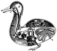 "The Canard Digérateur, or Digesting Duck, was an automaton in the form of duck, created by Jacques de Vaucanson in 1739.   Voltaire wrote that ""without [...] the duck of Vaucanson, you have nothing to remind you of the glory of France."" (""Sans...le canard de Vaucanson vous n'auriez rien qui fit ressouvenir de la gloire de la France."") This is often misquoted as ""Without the shitting duck, we would have nothing to remind us of the glory of France."""
