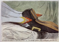Fashionable Contrasts (1792) by James Gillray   As well as being blatant in his observations, James Gillray could be incredibly subtle, and puncture vanity with a remarkably deft approach. The outstanding example of this is his print Fashionable Contrasts;—or—The Duchess's little Shoe yeilding [sic] to the Magnitude of the Duke's Foot. This was a devastating image aimed at the ridiculous sycophancy directed by the press towards Frederica Charlotte Ulrica, Duchess of York, and the supposed daintiness of her feet. The print showed only the feet and ankles of the Duke and Duchess of York, in an obviously copulatory position, with the Duke's feet enlarged and the Duchess's feet drawn very small. This print silenced forever the sycophancy of the press regarding the union of the Duke and Duchess.