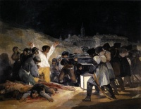 The Third of May 1808 (1814) by Francisco de Goya   The Madrilene rebels who fought the Napoleonic invaders on 2 May 1808 were executed there on the morning of 3 May, as painted by Francisco de Goya.
