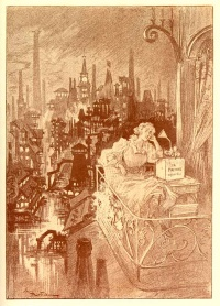 "Loisirs Littéraires au XXe siècle (English: ""Literary leasures in the 20th century""), an illustration from the story ""The End of Books"" by French writer Octave Uzanne and illustrator Albert Robida."