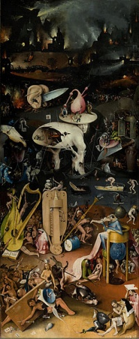 Born two years before Leonardo da Vinci, Hieronymus Bosch's work - represented here by The Garden of Earthly Delights - is radically different from his better known contemporary, the first exemplifies Italian Renaissance, the second Northern Renaissance.