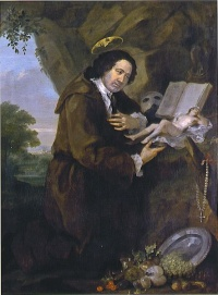 Portrait of Francis Dashwood, 15th Baron le Despencer by William Hogarth from the late 1750s, parodying Renaissance images of Francis of Assisi. The bible has been replaced by a copy of the erotic novel Elegantiae Latini sermonis, and the profile of Dashwood's friend Lord Sandwich peers from the halo.