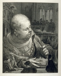 Gargantua eating six pilgrims from Gargantua and Pantagruel by François Rabelais, as illustrated by Gustave Doré