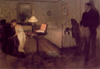 Interior Scene (The Rape) (1868 - 1869) by Edgar Degas. The source of this painting is variably attributed to Émile Zola and Paul Gavarni