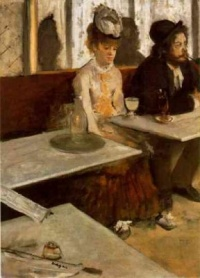 "L'Absinthe (1876) - Edgar Degas  ""Give me your tired, your poor,  Your huddled masses yearning to breathe free,  The wretched refuse of your teeming shore.  Send these, the homeless, tempest-tost to me,  I lift my lamp beside the golden door!"" --Emma Lazarus, 1883"