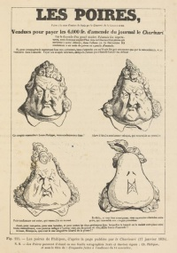 Les Poires, as sold separately to cover the expenses of a trial of Le Charivari, after a version published in Le Charivari of January 17, 1834. The drawing was made by Daumier after the sketch of Philipon.