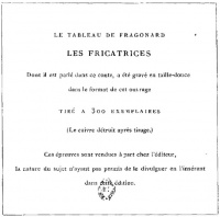 "Advertisement for Les Fricatrices by French painter  Fragonard, from the story ""L'Enfer du Chevalier de Kerhany, étude d'éroto-bibliomanie""."