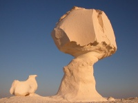 Limestone rock formation in the White Desert, Egypt
