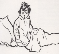 This page Narrative is part of the comics series. Illustration: Little Nemo sitting upright in bed