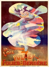 Loie Fuller poster for the Folies Bergère in the late 19th century. (poster by PAL (Jean de Paléologue), printed by Paul Dupont)