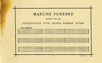 "Funeral March for the Obsequies of a Deaf Man (1884), a composition by Alphonse Allais. It consists of nine blank measures and predates comparable works by John Cage (""4′33″"") by a considerable margin."
