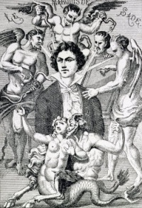 This page Portrait fantaisiste du marquis de Sade is part of the Marquis de Sade series  Illustration: Portrait fantaisiste du marquis de Sade (1866) by H. Biberstein