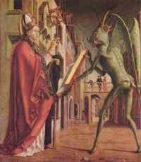 "The Devil Presenting St Augustine With The Book Of Vices, panel of Pacher's Kirchenväteraltar (""Fathers of the Church"" altarpiece, c. 1483). This panel is on the outside right (i.e. on the back of the Augustine panel), and would have been only visible to church-goers when the altar was closed, i.e. when no service was being held."