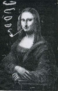 Mona Lisa Smoking a Pipe (1883) by Eugène Bataille, see 19th century art