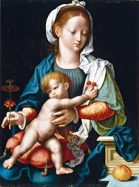 Madonna and Child with Carnation (Cincinnati version, 1530-35) by Joos van Cleve