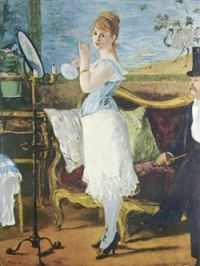 "In 1877, French artist Édouard Manet exhibited ""Nana"", a life-size portrayal of a courtesan in undergarments, standing before her fully clothed gentleman caller. The model for it was the popular courtesan Henriette Hauser."