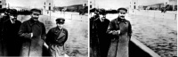 Nikolai Yezhov at the shore of the Moskwa-Wolga-Channel before and after