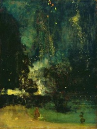 "Nocturne in Black and Gold – The Falling Rocket  (c. 1874-77) by James McNeill Whistler caused controversy after art critic John Ruskin commented that Whistler had flung ""a pot of paint in the public's face"". Whistler subsequently sued Ruskin for defamation."