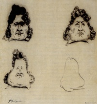 """La Métamorphose du roi Louis-Philippe en poire""  (""The Metamorphosis of King Louis-Philippe into a Pear"") is a pen and bister-ink sketch by Charles Philipon"