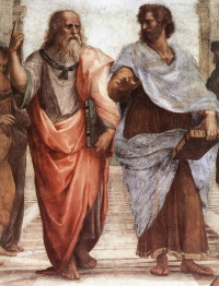 Plato (left) and Aristotle (right), a detail of The School of Athens, a fresco by Raphael. Aristotle gestures to the earth, representing his belief in knowledge through empirical observation and experience, while holding a copy of his Nicomachean Ethics in his hand. Plato holds his Timaeus and points his index finger to the heavens, representing his belief in The Forms