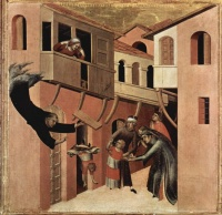 Agostino Novello saves a falling child c. 1328 Simone Martini, an example of art horror