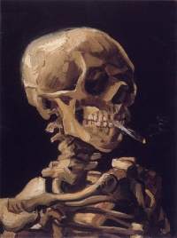 Skull of a Skeleton with Burning Cigarette (1886) by Vincent van Gogh