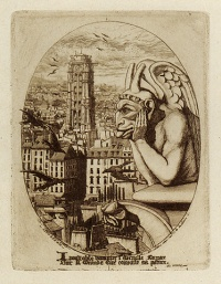 Stryge (1853) is a print by French etcher Charles Méryon depicting one of the gargoyles of the Galerie des chimères of the Notre Dame de Paris cathedral.