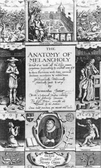 Frontispiece for the 1638 edition of The Anatomy of Melancholy by Robert Burton