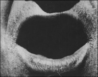 "Extreme close-up from the movie ""The Big Swallow"" (1901), produced and directed by James Williamson (1855-1933)"